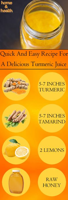 Recipe For Turmeric Juice  Ingredients:  5-7 inches turmeric 5-7 inches tamarind 2 lemons water raw honey