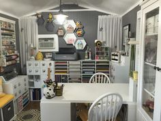 Back wall - Scrapbook.com Sewing Room Design, Sewing Rooms, Sewing Studio, Space Crafts, Home Crafts, She Shed Decorating Ideas, Home Command Center, Craft Storage Solutions, Craft Shed