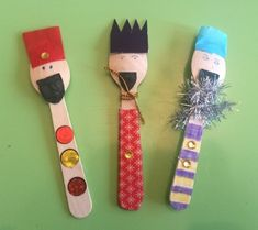 Three Kings, a craft for Epiphany Man Crafts, Bible Crafts, Craft Stick Crafts, Preschool Crafts, Arts And Crafts, Crafts For Kids To Make, Christmas Crafts For Kids, Christmas Activities, 3 Kings Day Crafts