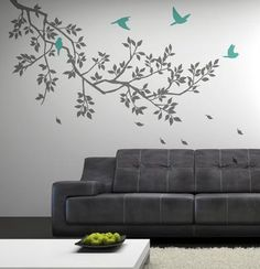 love the gray and aqua and the branch and the birds!
