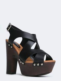 NEW BRECKELLES Women Stud Strappy Wooden Platform Heel Sandals sz Black Renee23