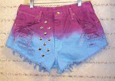 Hot Shorts, Casual Shorts, Denim Shorts, Casual Outfits, Cute Outfits, Diy Tie Dye Shorts, Hip Hop, Short Girls, Aqua Blue