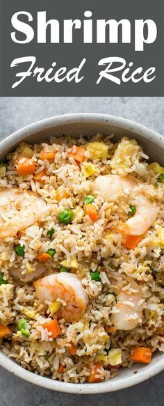 How to make fried rice like a japanese steakhouses version food classic shrimp fried rice with fresh shrimp rice green onions peas ccuart Images