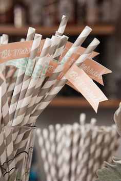 maybe even gray striped straws with mint colored flags instead of these peach ones!