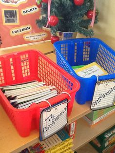 "This second grade teacher has individual conferencing notebooks for each student. She writes observations during Readers' and Writers' Workshop. She has two baskets for storing the books. One basket is for those students who have ""had"" a conference and the other basket is for those students who ""need"" a conference."