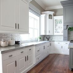[Kitchen] gray granite countertops, to go with the white and gray cabinets, hardwood floors
