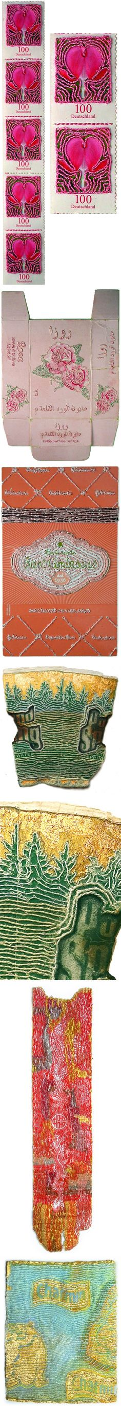 nicola ginzel - thread on found... stuff {stamps, old boxes, toilet paper etc}