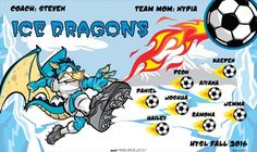 Ice Dragons B53316-2of2-F  digitally printed vinyl soccer sports team banner. Made in the USA and shipped fast by BannersUSA.  You can easily create a similar banner using our Live Designer where you can manipulate ALL of the elements of ANY template.  You can change colors, add/change/remove text and graphics and resize the elements of your design, making it completely your own creation.