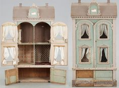 Beautiful vintage Dolls House in peppermint - shabby chic!