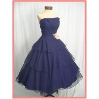 50'S STRAPLESS BLUE TULLE TIERED TEA LENGTH PARTY DRESS