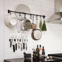 IKEA kitchen wall storage, FINTORP rail, black