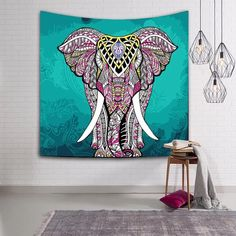 Sale bohemian elephant tapestry wall hanging decor home hippie beach throw table runner black and white Elephant Fabric, Elephant Tapestry, Elephant Print, Elephant Design, Bohemian Tapestry, Indian Tapestry, Mandala Tapestry, Blanket On Wall, Beach Blanket