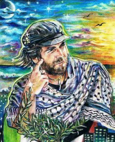 Vittorio Arrigoni Palestine Art, Freedom Fighters, Human Rights, Christianity, Hero, Male Portraits, Artist, Homeland, Painting