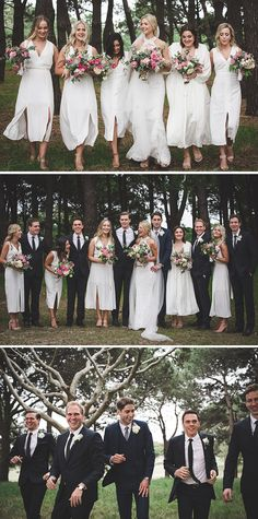 White bridesmaid dresses with pink bouquets and black groomsmen suits | Angela Rose Photography