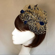 Gold fascinator wedding headdress Navy and by themakingboutique