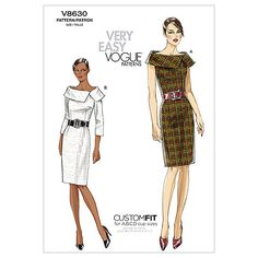 Buy Vogue Women's Dress Sewing Pattern, 8630 from our Sewing Patterns range at John Lewis & Partners. Simple Dress Pattern, Sundress Pattern, Vogue Patterns, Simple Dresses, Dresses For Work, Evening Dresses, Summer Dresses, Party Dresses, Collars For Women