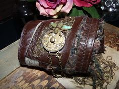 wrist cuff THE FLY mens steampunk textile by BlanchardsEmporium, $49.00