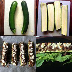 """•2 Kesäkurpitsaa (suurinpiirtein samankokoisia keskenään) •400 g jauhelihaa •2 sipulia •fetapurkki 1. Paista jauheliha, ja silputtu sipuli ja mausta mielesi mukaan 2. Halkaise kesäkurpitsat kahtia, ja veistä takapuolelta palanen pois (niin että ne pysyy helpommin pystyssä) 3. Kaiverra """"sisälmys"""" pois 4. Täytä kesäkurpitsat jauhelihasipulisekoituksella ja murenna päälle fetaa reilulla kädellä 5. Uuniin n. 200 astetta"""