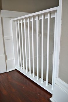Homemade wooden painted baby gate by newlywoodwards, via Flickr