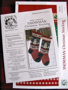 Knitted+Snowman+Christmas+Stocking+KIT+with+by+annieswoolens,+$29.00
