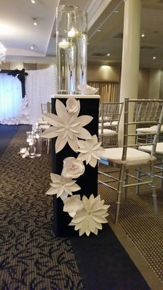 Our Handmade Paper Flower Weddingdecor Displayed At The 103 West Birthday Decorations, Wedding Decorations, Table Decorations, Paper Flower Backdrop, Paper Flowers, Wedding Stage, Sweetheart Table, Flower Wall, Flower Making