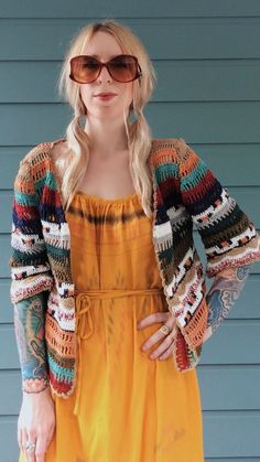 Colorful crochet kimono jacket inspired by handwoven textiles from Cleobella's travels and vintage bohemian style. Features three-quarter length sleeves that have a slight bell effect. Pair it over your fav tee with c. Crochet Coat, Crochet Jacket, Crochet Cardigan, Crochet Clothes, Moda Crochet, Easy Crochet, Freeform Crochet, Crochet Fashion, Beautiful Crochet