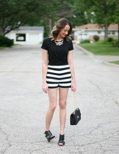 black + white striped shorts - www.lovelucygirl.com