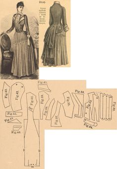 Der Bazar 1889: Directoire dress of blue solid and blue-white striped wollen fabrics; 32. bodice's lining, 33. pleated plastron, 34. belt, 35. jacket's front part, 36. lapel, 37. and 38. side gores, 39. back gore, 40. back part, 41. collar in half size, 42. and 43. sleeve parts, 44. triangle sleeve decoration piece, 45. pouffy sleeve decoration piece in half size, 46. cuff in half size