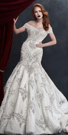 Off the shoulder full embellishment elegant mermaid wedding dress : Dar Sara 2017 Wedding Dresses #wedding #weddinggown #weddingdress