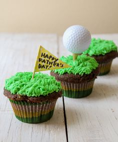 Father's Day: Mocha CupcakesWhenever I go out to buy cupcakes, I notice that most of the other patrons happen to be women. Â However, is it safe to assume Golf Cupcakes, Fruit Cupcakes, Filled Cupcakes, Cupcake Flavors, Birthday Cupcakes, Cupcake Recipes, Cupcake Cakes, Diy Cupcake, Baby Cakes