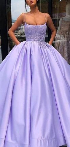 Purple Ball Gown Spaghetti Straps Satin Prom Dress With Pocket Lilac Prom Dresses, Pretty Prom Dresses, Quince Dresses, Sweet 16 Dresses, Elegant Dresses, Light Purple Prom Dress, Purple Quinceanera Dresses, Sweet 16 Outfits, Elegant Ball Gowns