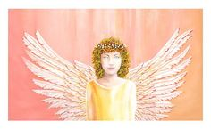 Healing Angel Art Print from my original acrylic painting  by Julia Underwood and Jewells Art