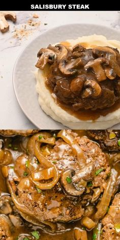 Beef Recipes For Dinner, Supper Recipes, Meat Recipes, Cooking Recipes, Healthy Recipes, Simple Meals For Dinner, Hamburger Steak Recipes, Homemade Salisbury Steak, Salisbury Steak Recipes