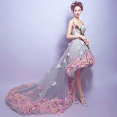 Bustier sans manches / robe courte robe / avant retour robe longue en dentelle fleur robe / robe de soirée / mariée Banquet robe / formelle robe