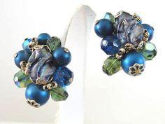 Blue Earrings, Vintage Earrings, Drop Earrings, Weird Shapes, Metallic Blue, Blue Beads, Round Diamonds, Glass Beads, Retro Vintage