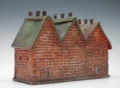 "$95- 6"" H, 8.5""L x 3.5""W; Ceramic Sculpture Three Brick Row Homes with Chimneys by JaneKav"
