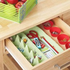 Here's a creative way to recycle an egg carton and use it in a drawer as a helpful organizer.