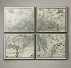 1672 Plan de Paris Four-Panel Map traditional-artwork Plan Paris, Paris Map, Paris France, Traditional Artwork, Vintage Paris, French Art, Panel, Large Wall Art, Restoration Hardware