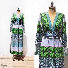 Vintage Maxi Dress // Psychedelic // V Neck // 1960s by Aligras, $74.99 #pottiteam
