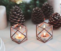 Geometric terrarium votive holders