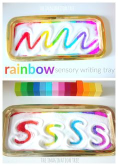 Make a rainbow sensory writing tray for colourful, fun invitation to so mark making, practise letter formation, learn sight words and draw pictures!