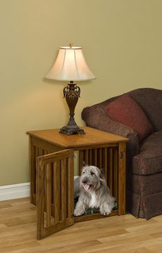Dog Crate End Table Furniture Solid Oak Maple Wood by pinnaclewc
