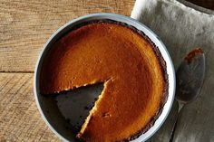 This pumpkin pie is anything but boring. The hefty amount of bourbon cuts the sweetness, and a mix of sour cream and heavy cream in the filling makes it a little tangy. The gluten-free gingersnap crust is just slightly spicy and much easier to make than a regular pie shell.