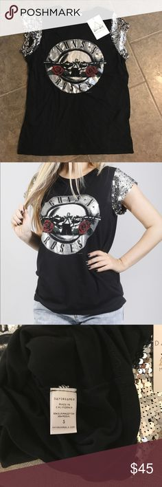 DAYDREAMER: GUNS 'N ROSES T SHIRT - SILVER SEQUIN Size small Daydreamer Tops Tees - Short Sleeve