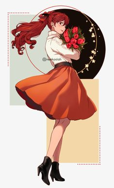 """""""Girl with Tulips"""" by - ChurchOfKasumi Persona 5 Memes, Persona 5 Anime, Persona 5 Joker, Red Hair Girl Anime, Anime Girl Cute, Anime Art Girl, Red Hair Anime Characters, Girls Characters, Female Characters"""