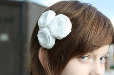 Bridal Couture Rosette hair clip White Silk Rosette Trio