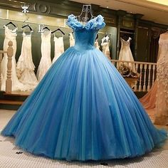 Hot Blue Cinderella Wedding Dresses Girls Pageant Quinceanera Dresses Ball Gowns