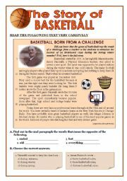 English worksheet: TEST - 8/9th graders - Story of Basketball + Present Perfect + Passive Voice + writing