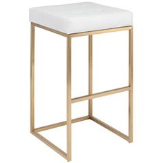 Nuevo Chi White and Gold Bar Stool NVHGMM154
