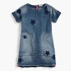 Shop the Girls' Denim Dress In Star Print at J.Crew and see the entire selection of Girls' Casual Dresses. Girls Denim Dress, Girls Dresses, Casual Dresses, Tween Fashion, School Fashion, School Dresses, Jumpsuit Dress, Denim Fashion, Fashion Outfits